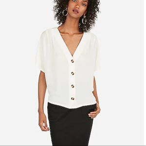 Express White Button Up Blouse Size Large